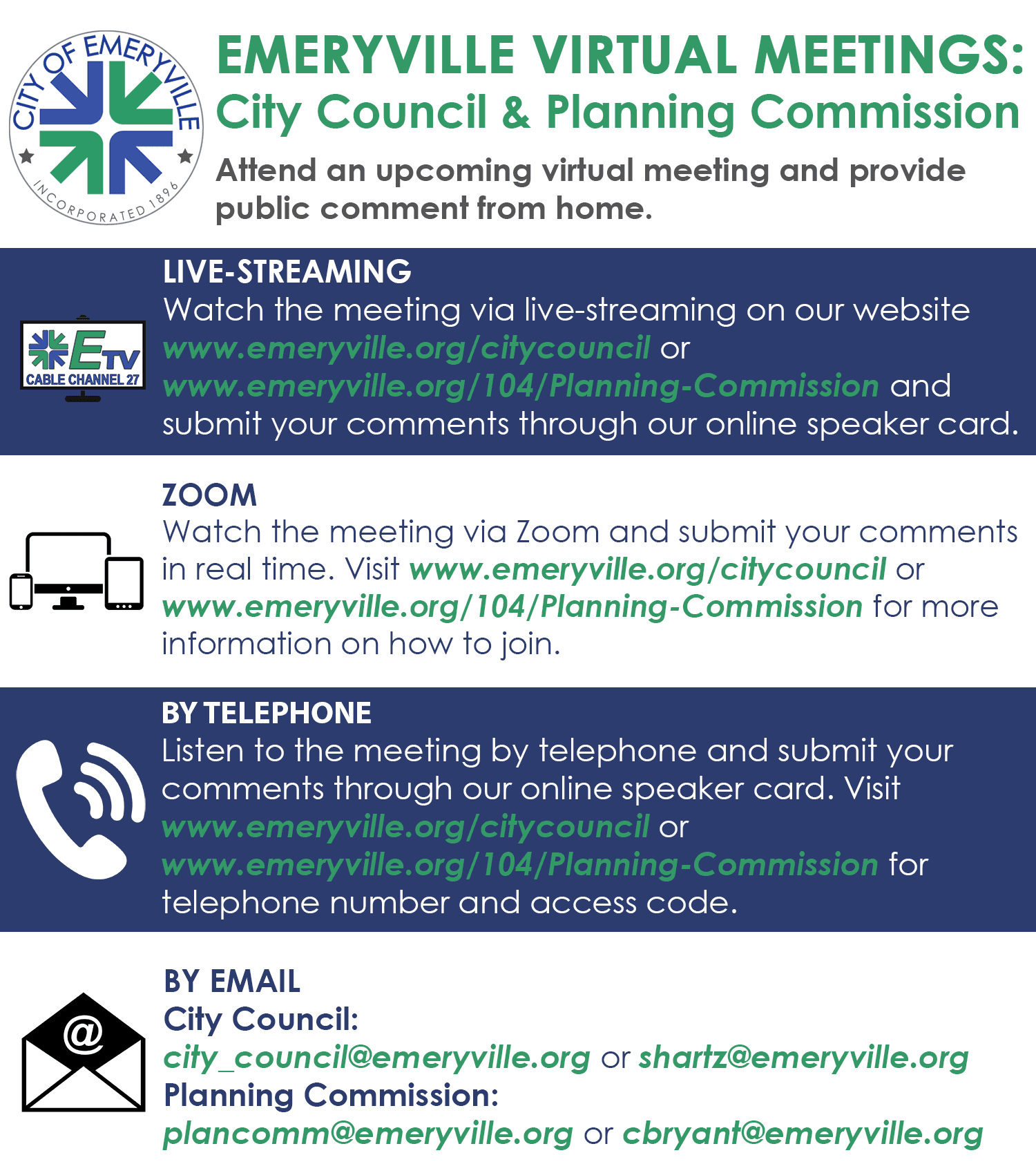 Emeryville Virtual Meetings