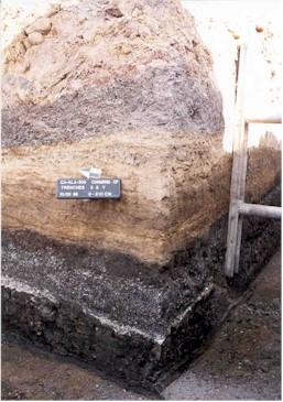 Layers of soil (strata) in the archaeological deposit