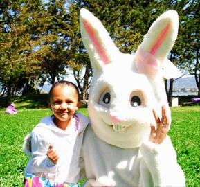 Bunny and child having fun at the Spring Family Festival